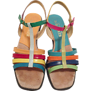 Vintage Bob Baker Colorful Strappy Sandals Size 7.5