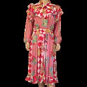 1980's Diane Freis Peasant Dress One Size