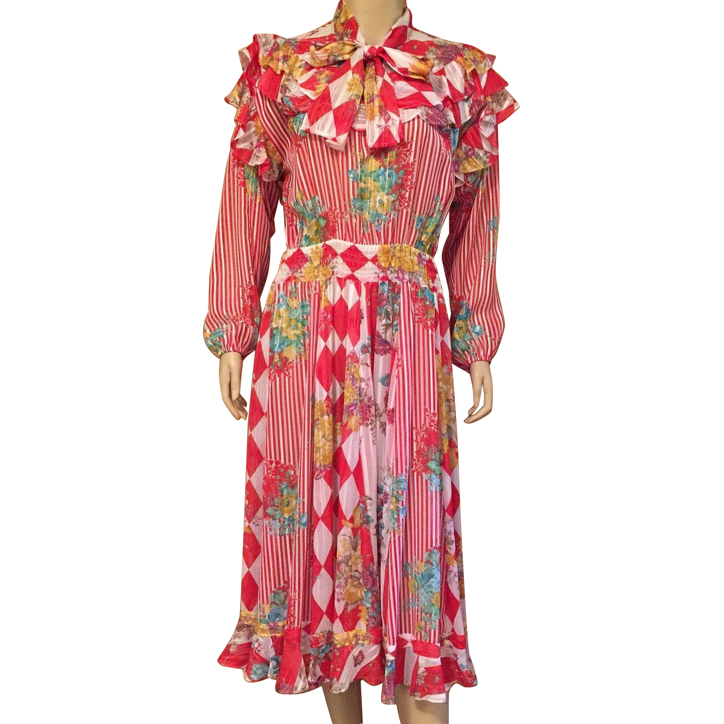 HOLD FOR LISA 1980's Diane Freis Peasant Dress One Size