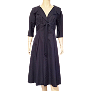 1950's Navy Blue Silk Grosgrain Dress