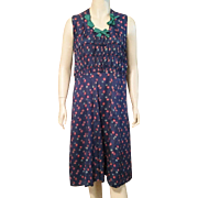 1920's Art Deco Silk Print Sleeveless Dress