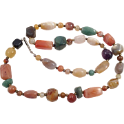 Vintage Polished Colored Natural Stone Necklace