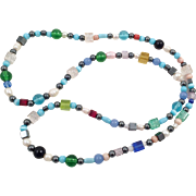 Vintage Colorful Beaded Glass Necklace With Hematite Pearls