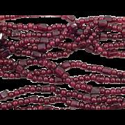 Triple Strand Natural Polished Rhodolite Garnet Necklace