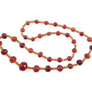 Vintage Faceted Two Tone Natural Amber Bead Necklace