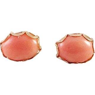 Coral and 14K Yellow Gold Pierced Earrings