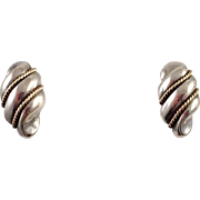 Tiffany and Co. Sterling 14K Gold Shell Pierced Earrings