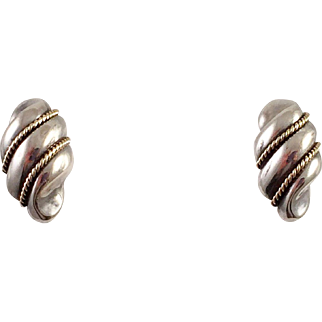 Tiffany and Co. Sterling 14K Gold Shell Pierced Earrings