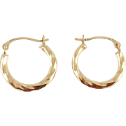 14K Gold Small Twisted Hoop Earrings Israel