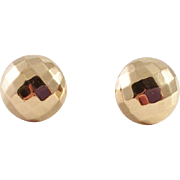 14K Gold Faceted Button Earrings signed B.A.B.