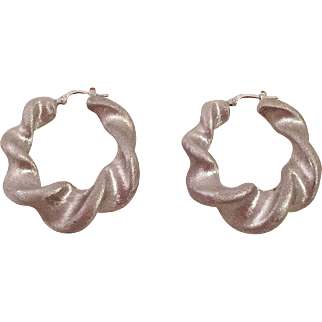 Brushed Sterling Silver Thick Twisted Hoop Earrings Italy
