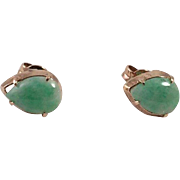 Apple Green Jade Gold Pierced Earrings