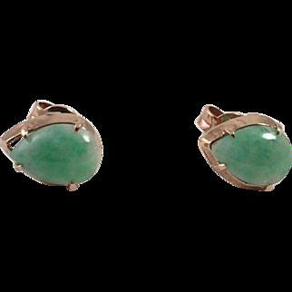 Apple Green Jade Gold Pierced Earrings