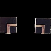 Art Deco Style Black Onyx and 14K Gold Pierced Earrings