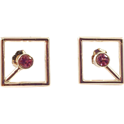 14K Gold Pink Tourmaline Open Square Pierced Earrings