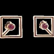 14K Gold Pink Tourmaline Open Square Pierced Earrings