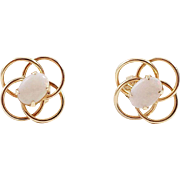 14K Gold and Opal Pierced Earrings