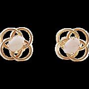 14K Gold and Opal Pierced Earrings