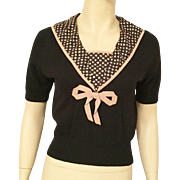 1940's Black Wool Sweater With Silk Collar and Bow