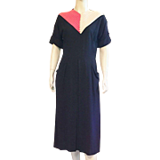 1940's Black Rayon Dress With Beige and Red Details