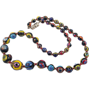 Vintage Italian Millefiori Graduated Bead Necklace
