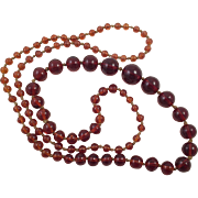 Vintage Amber Glass Graduated Beaded Necklace Knotted