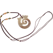 Chinese Dragon Jade Pendant Necklace On Silk Cord