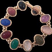 Vintage 14K Scarab Bracelet Ten Scarabs