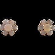 14K Yellow Gold Opal Pierced Earrings