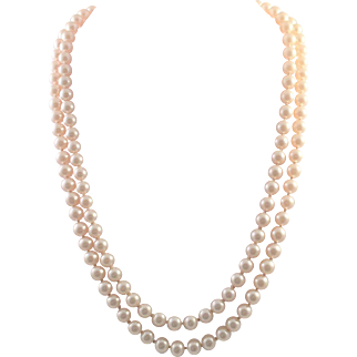 Trifari Two Strand Faux Pearl Necklace Hand Knotted