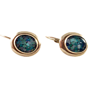 14K Gold Mosaic Opal Lever Back Pierced Earrings