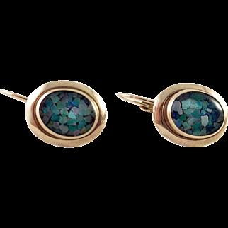 14K Gold Mosaic Opal Lever Back Pierced Earrings