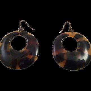 Vintage Tortoise Lucite Large Hoop Earrings