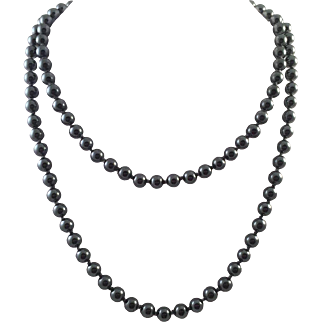 Single Strand Hematite Bead Necklace Hand Knotted