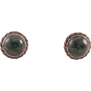 Sterling Sodalite Button Pierced Earrings
