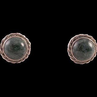 Sterling Sodalite Button Pierced Earrings
