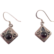 Sterling and Cabochon Garnet Pierced Earrings