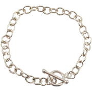 Sterling Link Bracelet With Toggle Clasp