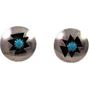 Navajo Sterling and Turquoise Shadow Box Earrings