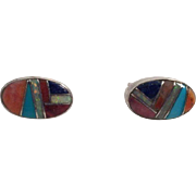 Native American Zuni Sterling Inlaid Stone Earrings Artist Signed