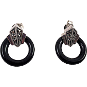 Sterling Marcasite Black Onyx Pierced Earrings