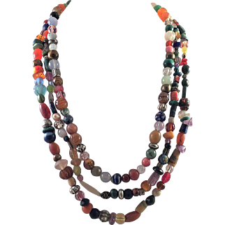 Colorful Three Strand Beaded Necklace