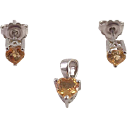Citrine Sterling Heart Shaped Pendant and Earrings
