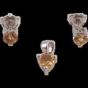 Citrine Sterling Heart Shaped Pendant and Earrings