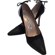 Manolo Blahnik Black Fabric and Faux Lizard Shoes Pumps 37 1/2