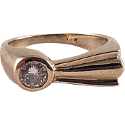14K Yellow Gold Pinkie Ring With Diamond
