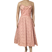 1950's Dusty Pink Brocade Party Dress With Crinoline