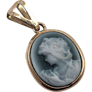 Italian 18K Gold Carved Blue Agate Cameo Pendant Female Profile