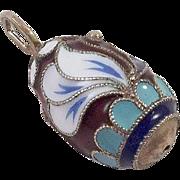 Russian Sterling Silver Enamel Cloisonne Egg Pendant Charm