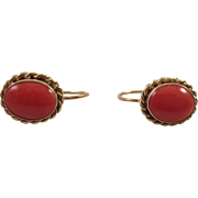 Vintage 18K Gold Mediterranean Coral Earrings